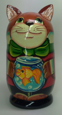 120mm Cat with a Goldfish hand painted Matryoshka 3pcs (by Gift Shop)