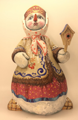 25cm Snow Woman in a Gzhel Caftan with Gloves and Birdhouse hand painted by Karpova Nadezda