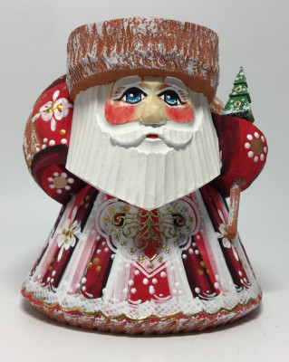 100 mm Santa Claus with a Bag of Gifts hand carved and painted wooden sculpture (by Igor Carved Wooden Figures Studio)