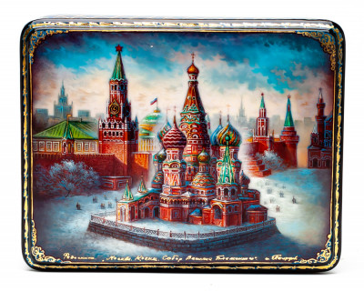 190x150mm Moscow Kremlin hand painted lacquered jewelery box (by Panferoff Studio)