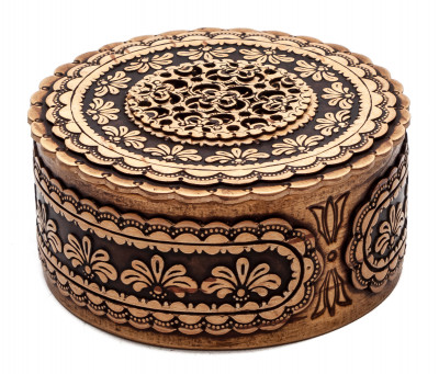 d 80 mm Siberian Patterns hand made Birchbark Jewelry Box (by Birch Gifts)