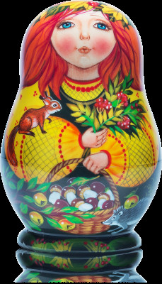 90 mm The Autumn hand painted wooden Matryoshka 5 pcs (by Vasily Crafts)