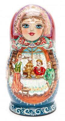 160 mm Family Dinner hand painted on wooden Matryoshka doll 5 pcs (by A Studio)