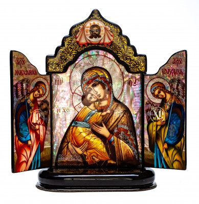 150x220mm Vladimirskaya Godmother handpainted on nacre Icon (by Galina Studio)