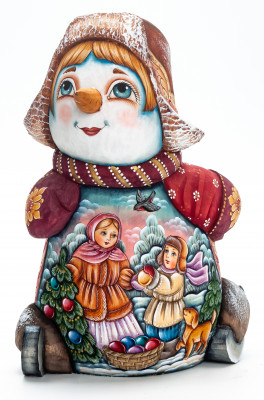 190 mm Snowman Riding the Skates and Children decorating the Christmas Tree wooden figurine (by Natalia Nikitina Workshop)