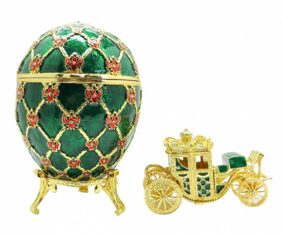 145 mm Imperial Coach and Green Imperial Coronation Easter Egg