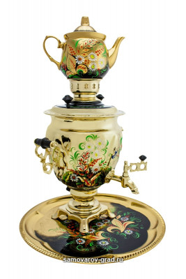 Daisies on Gold 3l Electric Samovar Kettle with Teapot and Tray
