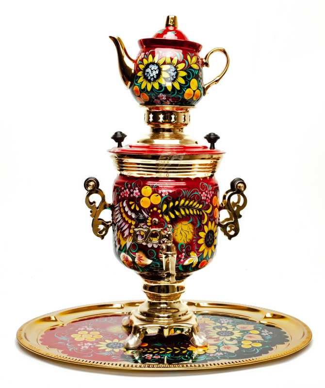 Phoenix and Sunflower Hand Painted Electric Samovar Kettlewith Teapot and Tray