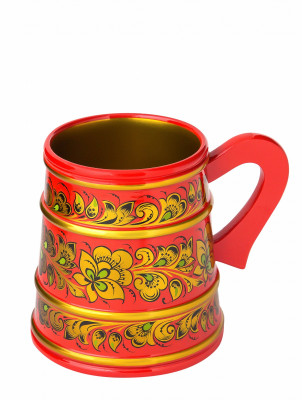 120 mm Khokhloma hand painted wooden Beer Mug (by Golden Khokhloma)
