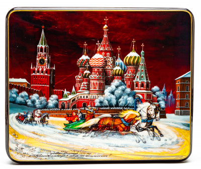240x220mm The Red Square and Saint Basil Cathedral Hand Painted Jewellery Box (by Tatiana Shkatulka Crafts)