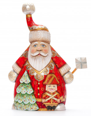 280 mm Santa with a Magic Staff and a Green Christmas Tree Carved Wood Hand Painted Collectible Figurine (by Igor Carved Wooden Figures Studio)