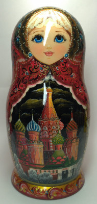 260 mm Moscow Cathedrals hand painted on wooden Matryoshka doll 10 pcs (by A Studio)