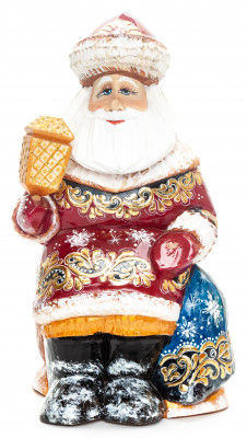 220 mm Santa with a Lamp and a Bag handpainted Wooden Carved Statue (by Igor Carved Wooden Figures Studio)