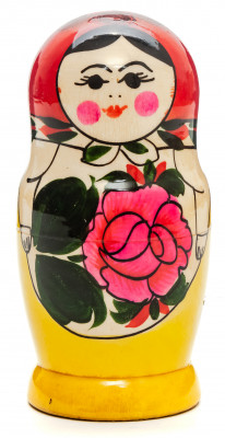 105 mm Red Head Semenovskaya handpainted wooden Matryoshka Doll 5 pcs (by Ivan Studio)