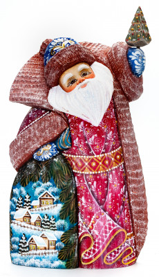 260 mm Santa with a Bag and a Christmas Green Tree Carved Wood Hand Painted Collectible Figurine (by Igor Carved Wooden Figures Studio)