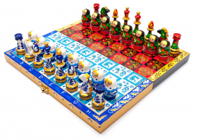 Khokhloma and Gzhel Hand Painted Chess Pieces on Wooden Chess Board