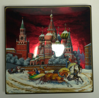 190x190mm Moscow Snt Basil Cathedral and Red Square hand painted lacquered jewelery box (by Tatiana Shkatulka Crafts)