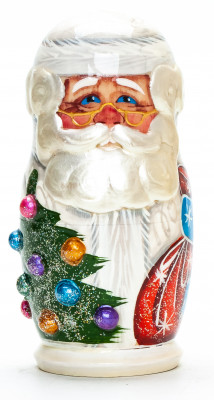 100 mm Santa Claus with a Bag hand painted wooden Matryoshka Doll 5 pcs (by A Studio)