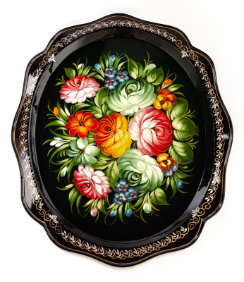 310x380 mm Zhostovo Patterns hand painted and lacquered  Metal Forged Tray (by Lada Crafts)