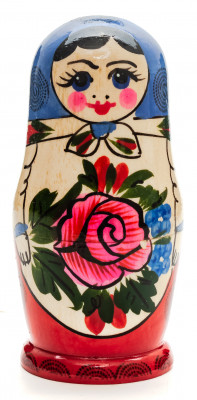 105 mm Navy Blue Head Semenovskaya handpainted wooden Matryoshka Doll 5 pcs (by Ivan Studio)