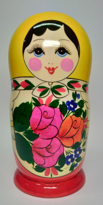 205 mm Yellow Head Semenovskaya handpainted wooden Matryoshka Doll 8 pcs (by Ivan Studio)