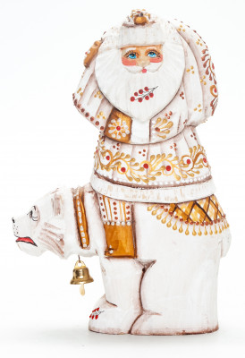 180 mm Santa Claus with a Bag Riding the Bear handpainted Wooden Carved Statue (by Natalia Nikitina Workshop)