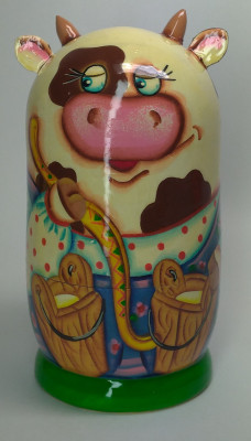 120mm Cow with a Rocker hand painted Matryoshka 3pcs (by Gift Shop)
