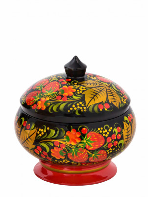 130x125 mm Khokhloma hand painted wooden Sugar Bowl (by Golden Khokhloma)