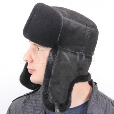 Black Seal Fur Ushanka Hat with Ear flaps and suede top (by Scandi Furs)