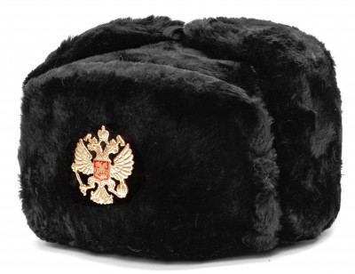 Russian Army Fur Ushanka Winter Hat (black, any size)