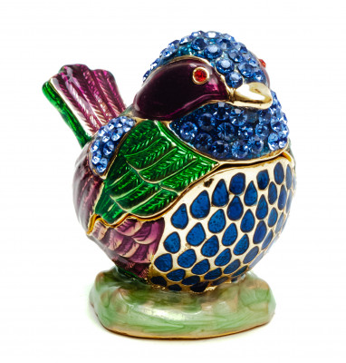 50 mm Blue Sparrow with Rhinestones Jewellery Box