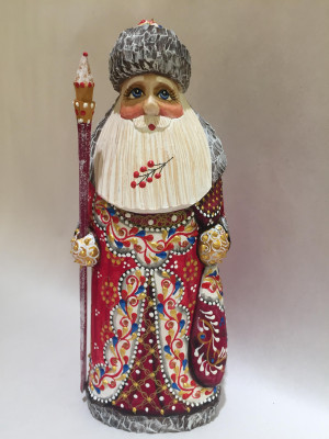 180 mm Santa Claus in a red Cap with Ornamental hand carved and painted wooden statue (by Natalia Workshop)