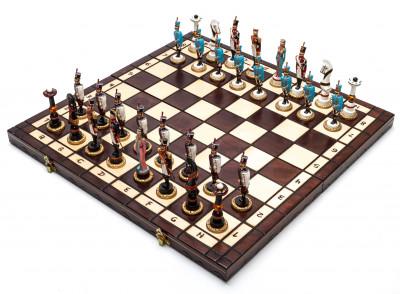 The Battle of Borodino handpainted figures on wooden Chess Board