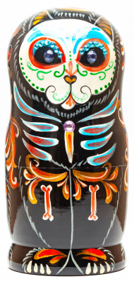 180mm Cat The Day of the Dead Hand Painted Matryoshka Doll 5 pcs (by Konstantin Studio)