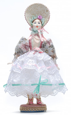 Girl in a Summer Dress and Hat Porcelain Doll on a Stand - 10 Inches