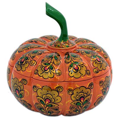 200 mm Pumpkin Casket Hand Painted Wooden Box (by Golden Khokhloma)