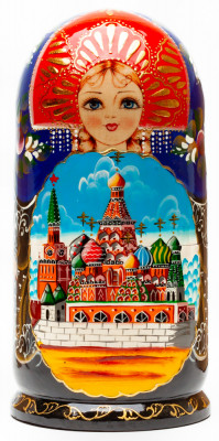 220 mm Saint Basil Cathedral handpainted Wooden Matryoshka Doll 7 pcs (by Sheherazade)