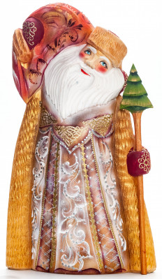 240 mm Santa with a Magic Staff and a Bag handpainted Wooden Carved Statue (by Igor Carved Wooden Figures Studio)