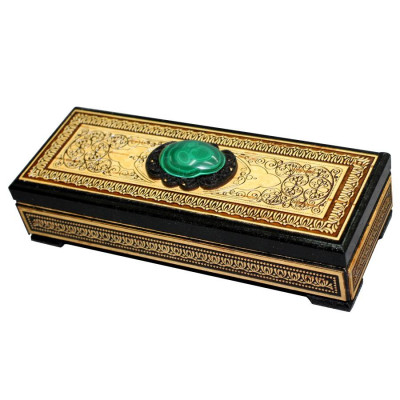 160x60 mm Siberian Patterns hand made Birchbark Jewelry Box with Malachite stone (by Birch Gifts)