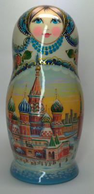 200 mm Moscow Cathedrals hand painted on wooden Matryoshka doll 5 pcs (by A Studio)