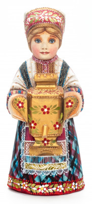 230 mm Girl with a Samovar hand painted Wooden Statue (by Karpova Nadezda)