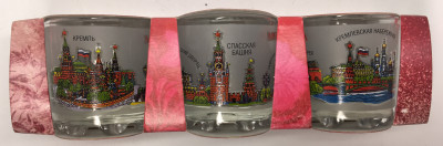 50 ml Moscow Views Colorful Decal Shot Glass set of 3 pcs (by AKM Gifts)