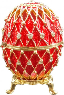 70 mm Golden Trellis on Red Enamel Easter Egg