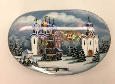 100 x 70 mm Suzdal Churches hand painted on shell Fedoscino lacqured papier-mache box (by Tatiana Fedoscino Arts)