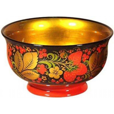 90x160 Khokhloma handpainted Open Small Vegetable Bowl wooden