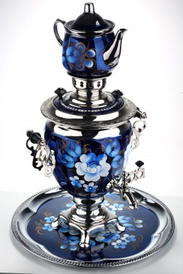 Blue Flowers Hand Painted Electric Samovar Kettle with Teapot and Tray