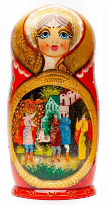 250 mm Russian Fairytale handpainted Wooden Matryoshka Doll 10 pcs (by Valery Crafts)