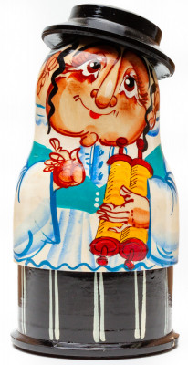 170 mm Hebrew hand painted wooden Russian Matryoshka doll 5 pcs (by Alexander Studio)