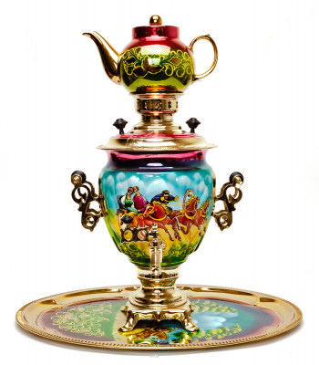 Russian Troika Hand Painted Electric Samovar Kettle with Teapot and Tray