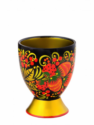 100x80 mm Khokhloma hand painted wooden Shot Glass (by Golden Khokhloma)
